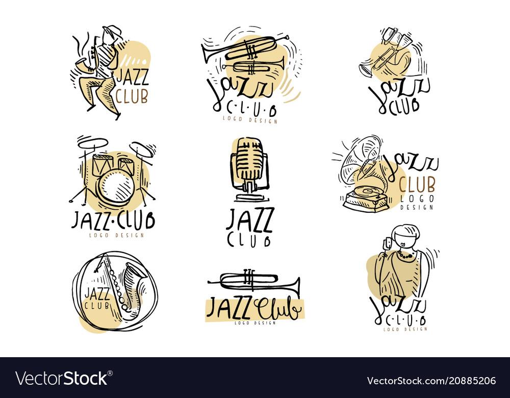 Jazz club logo design hand drawn