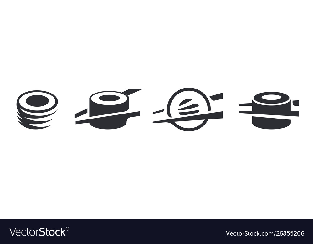 Monochrome set sushi and rolls restaurant logo