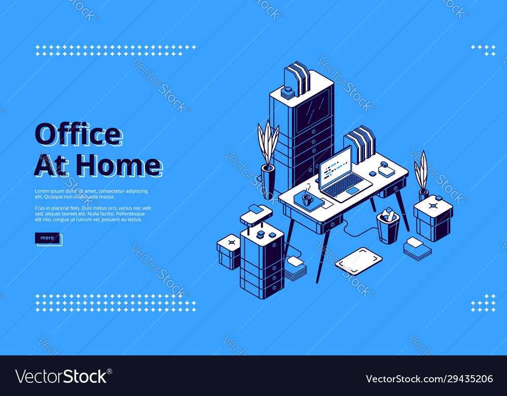 Office at home workplace isometric landing page