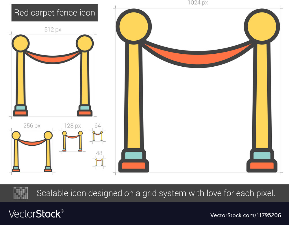 Red carpet fence line icon