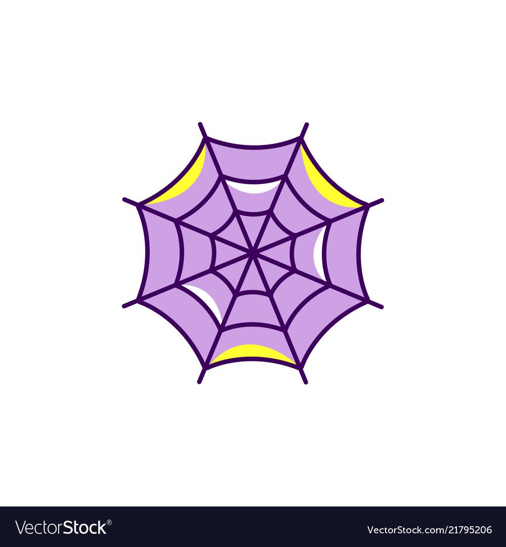 Spider web halloween icon colorful flat cobweb