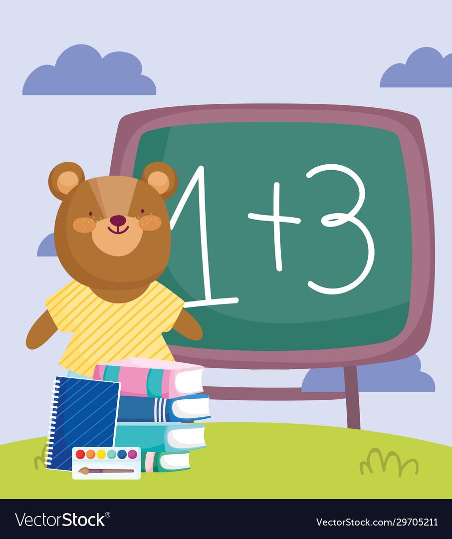 Back to school bear chalkboard books notepad