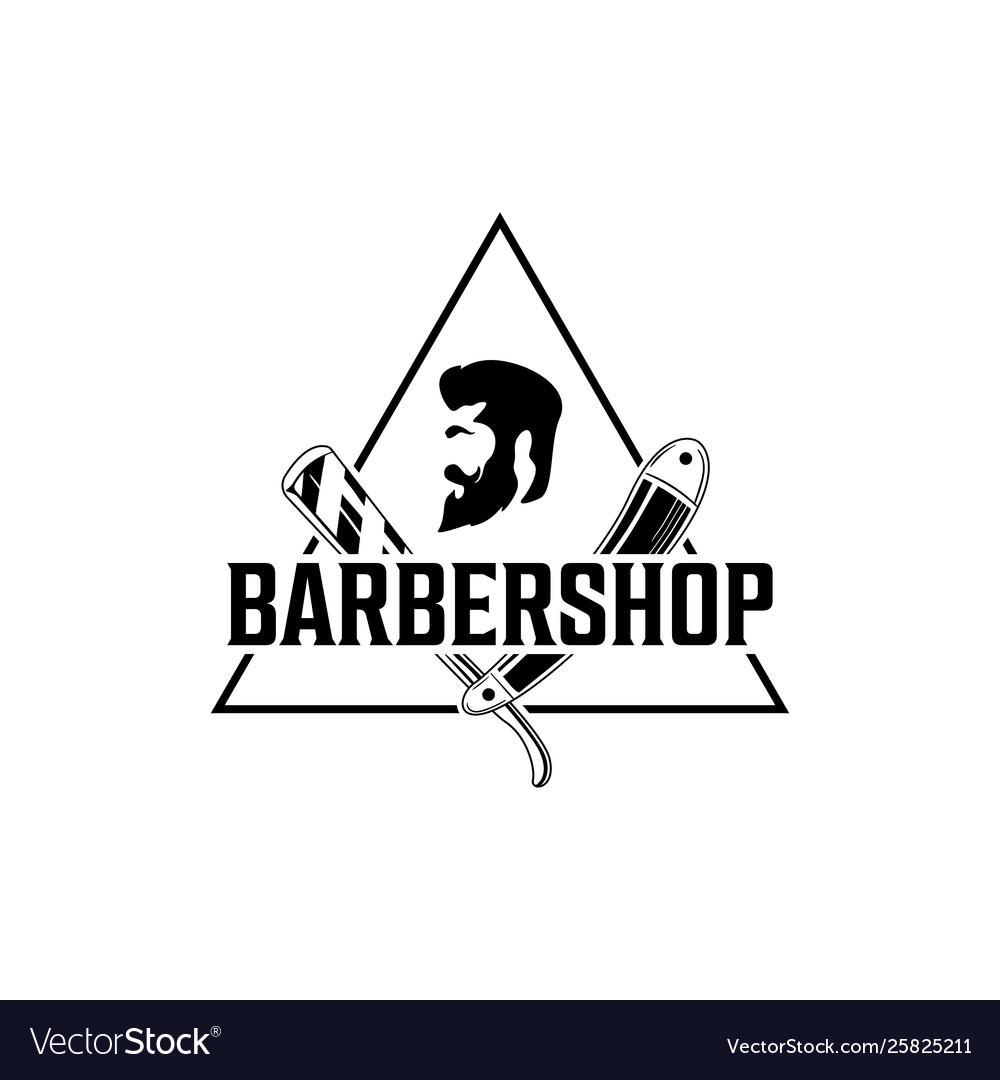 Barber shop vintage logo with gentleman face
