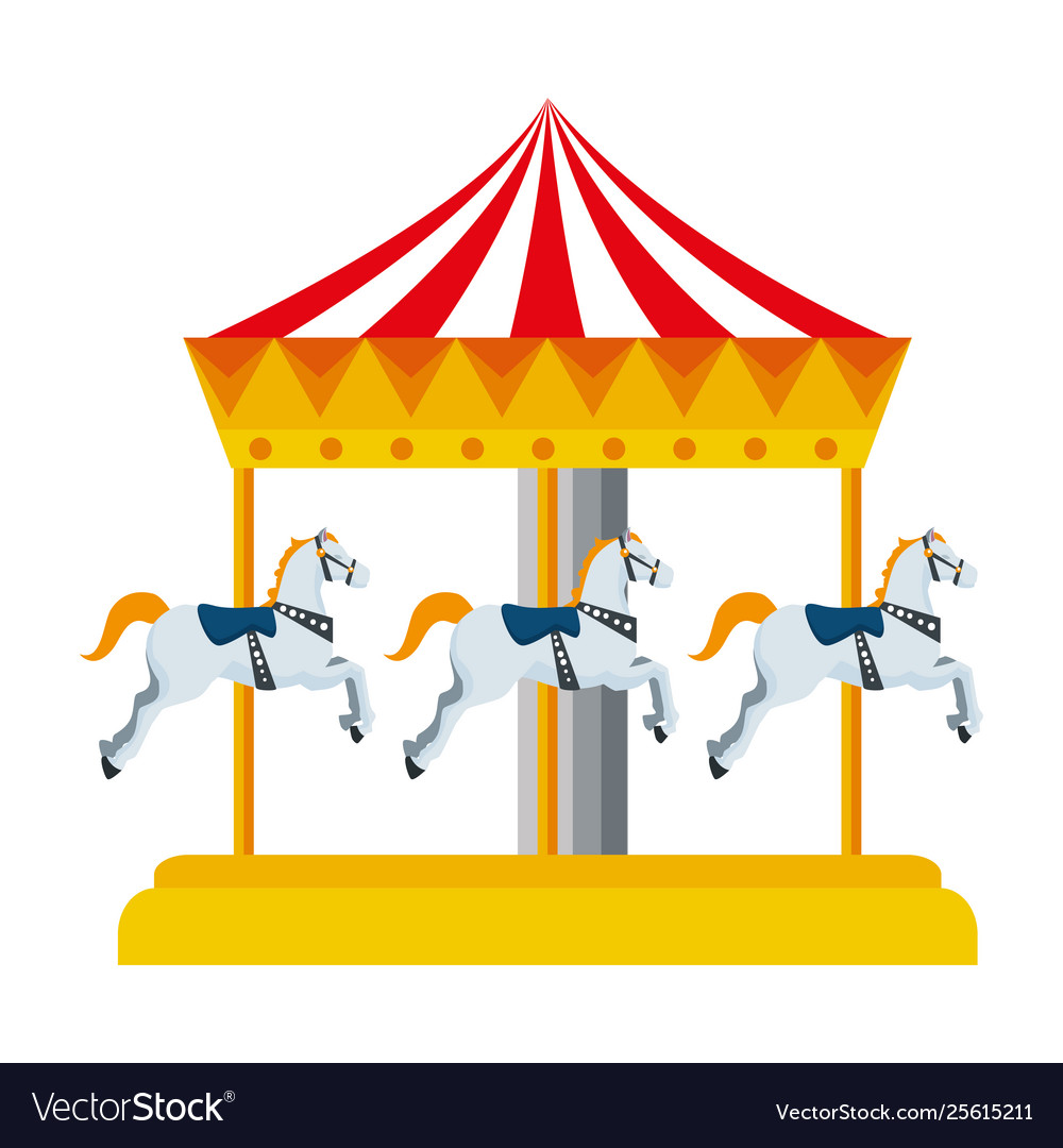 Carnival Carousel Horses Icon Royalty Free Vector Image