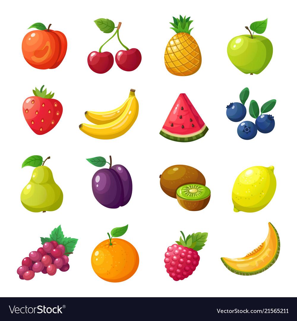 Cartoon fruits and berries melon pear mandarin