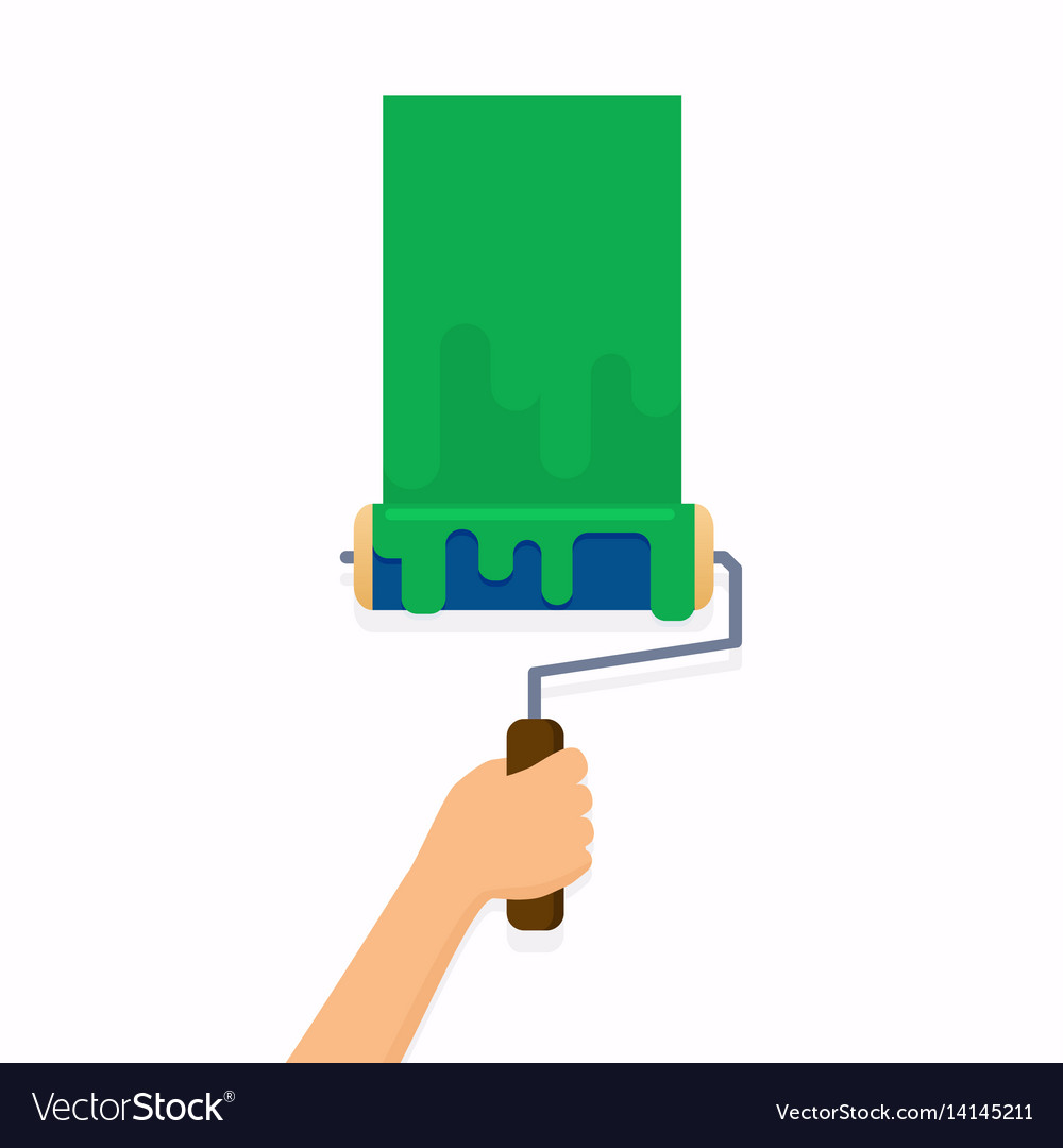 Hand holding roller brush and painting a wall