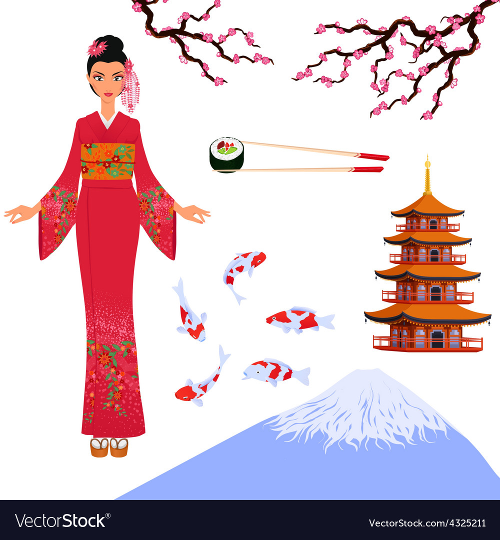 Japan set from isolated elements of national