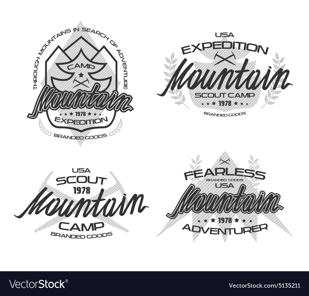 Mountain emblems for t shirt