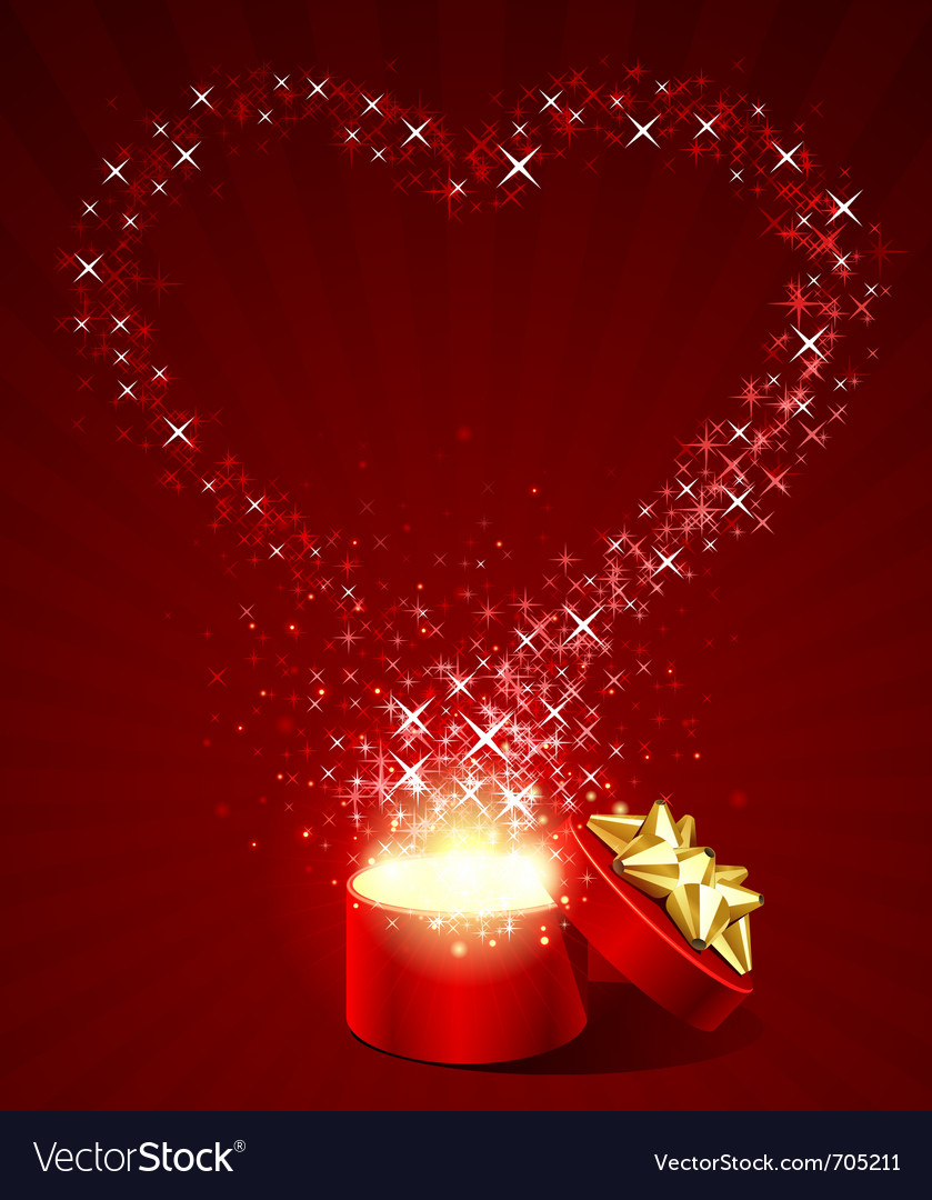 Open gift present box with fly stars heart shape