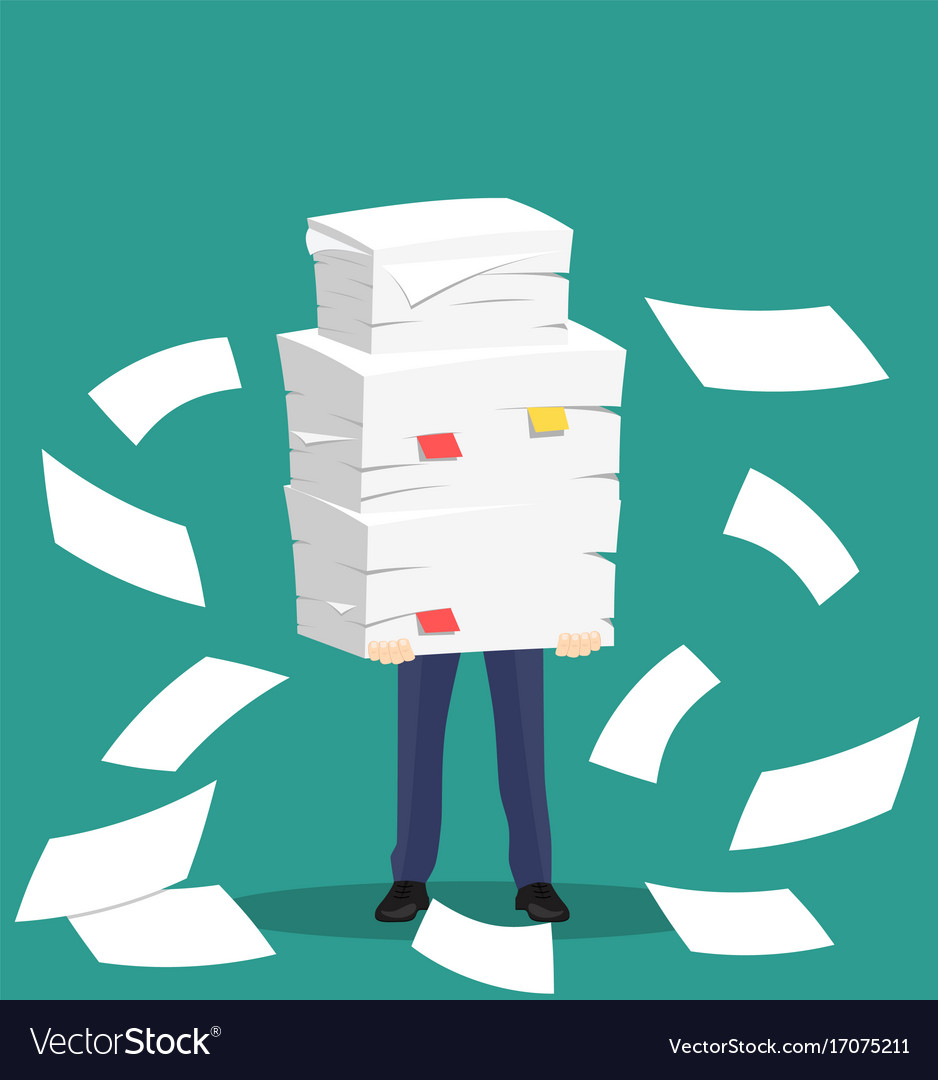 paper pile with a man royalty free vector image
