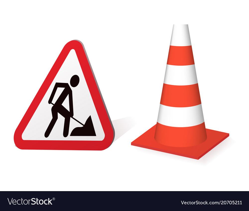 Road sign road repair