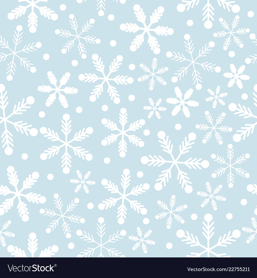 Sky blue and white snowflakes