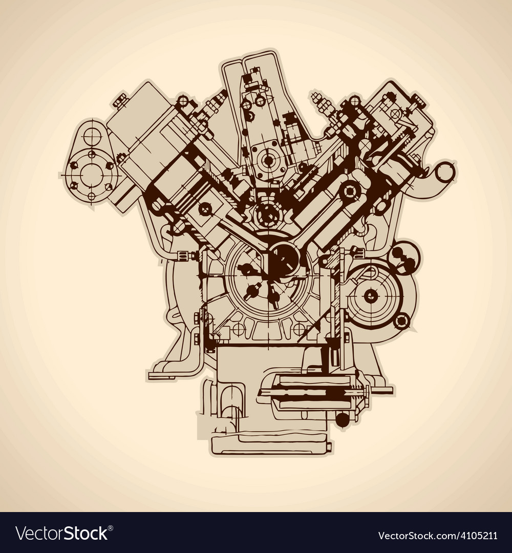 Vintage engine old picture Royalty Free Vector ImageVectorStock