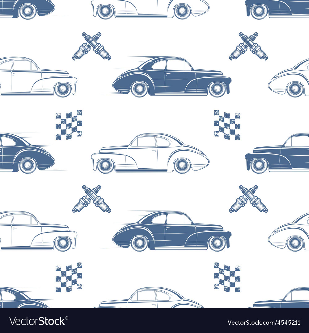 Vintage seamless pattern with cars