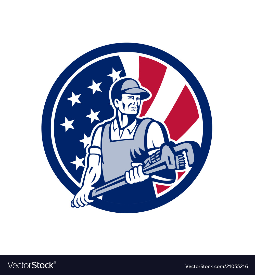 American plumber and pipefitter usa flag icon