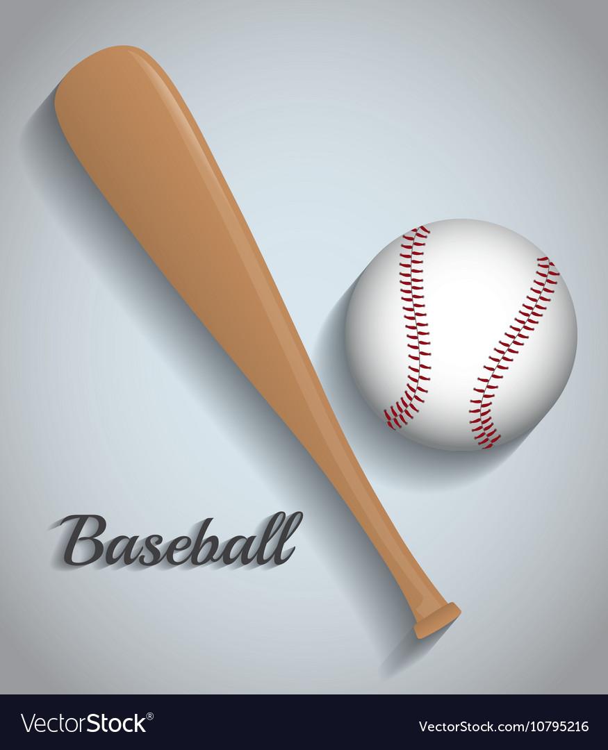 Ball and bat of baseball sport design vector image