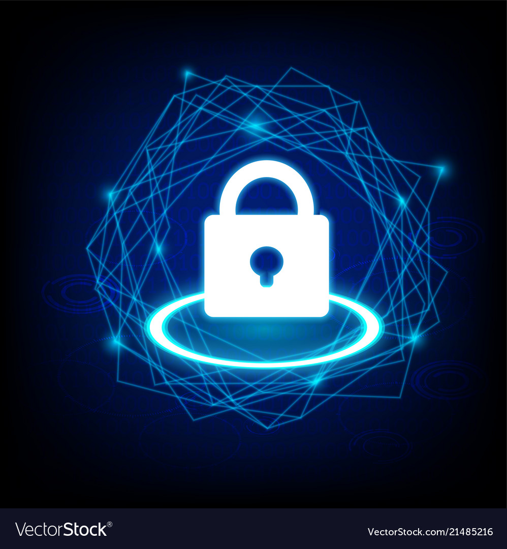 Concept of cyber security with key icon on dark
