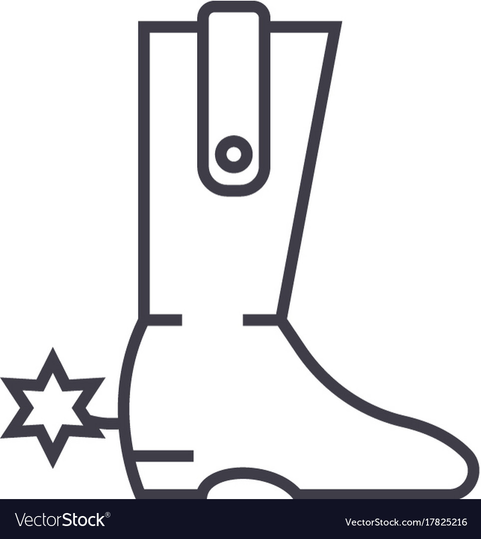Cowboy boot line icon sign vector image