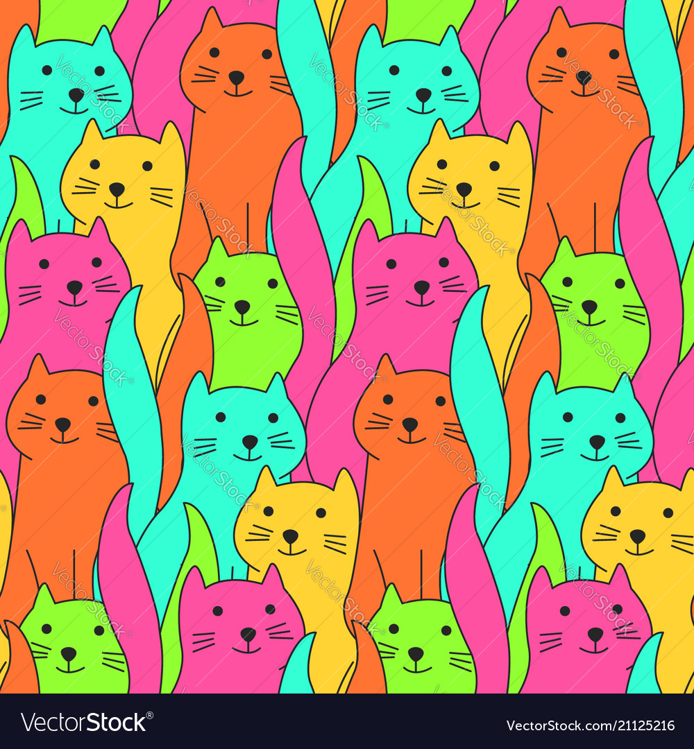 Cute colorful doodle cats pattern