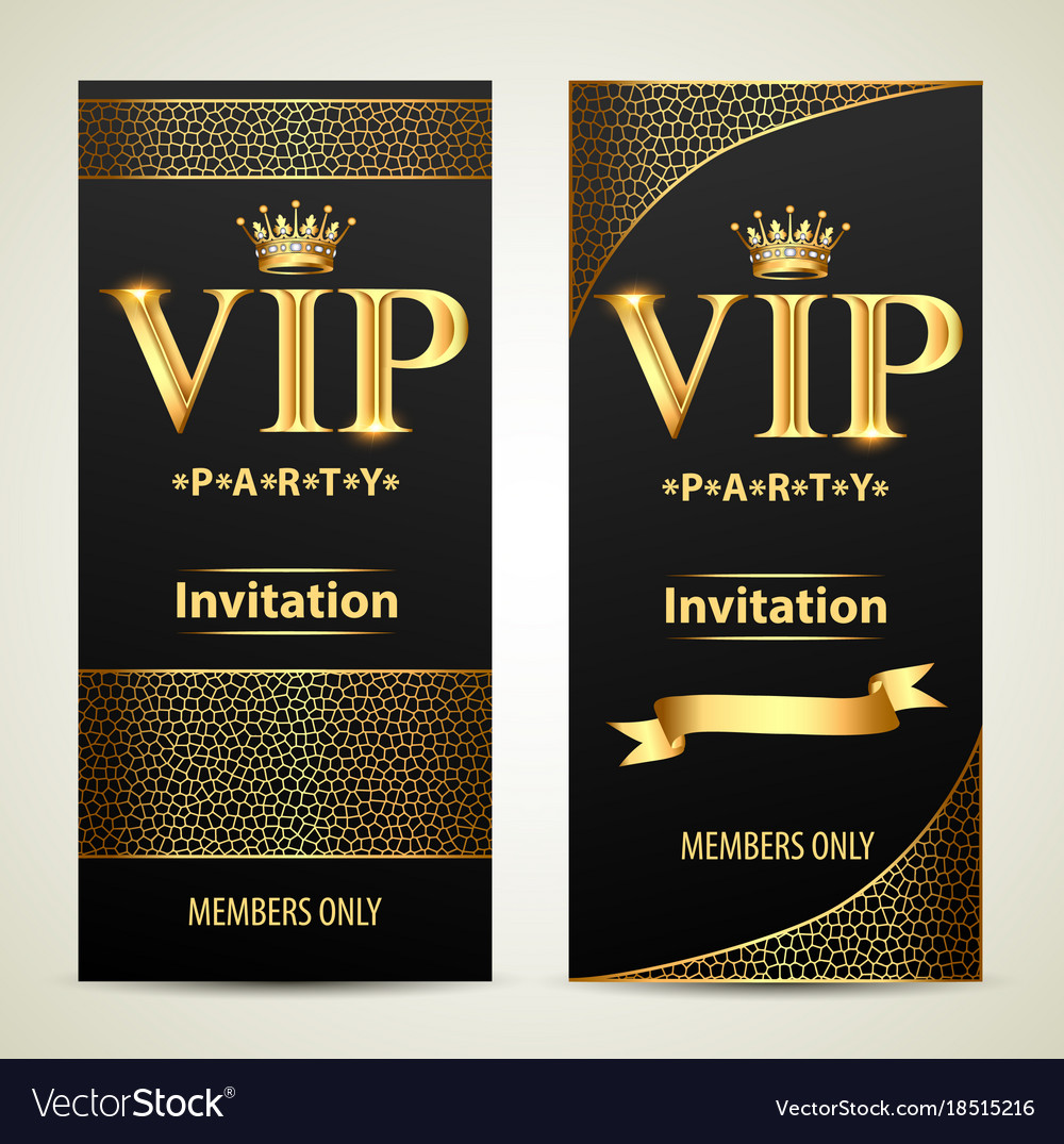 Design invitations to vip party gold Royalty Free Vector