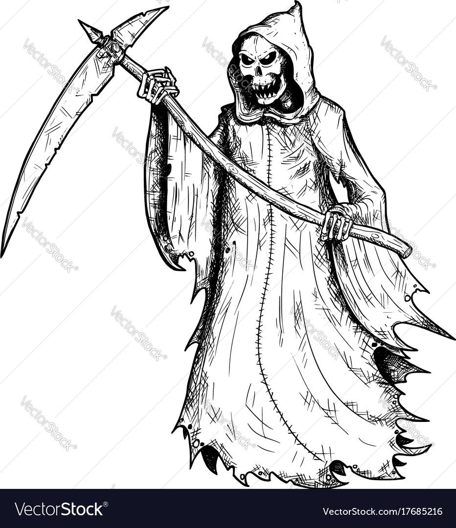 Hand Drawing Of Halloween Grim Reaper Royalty Free Vector