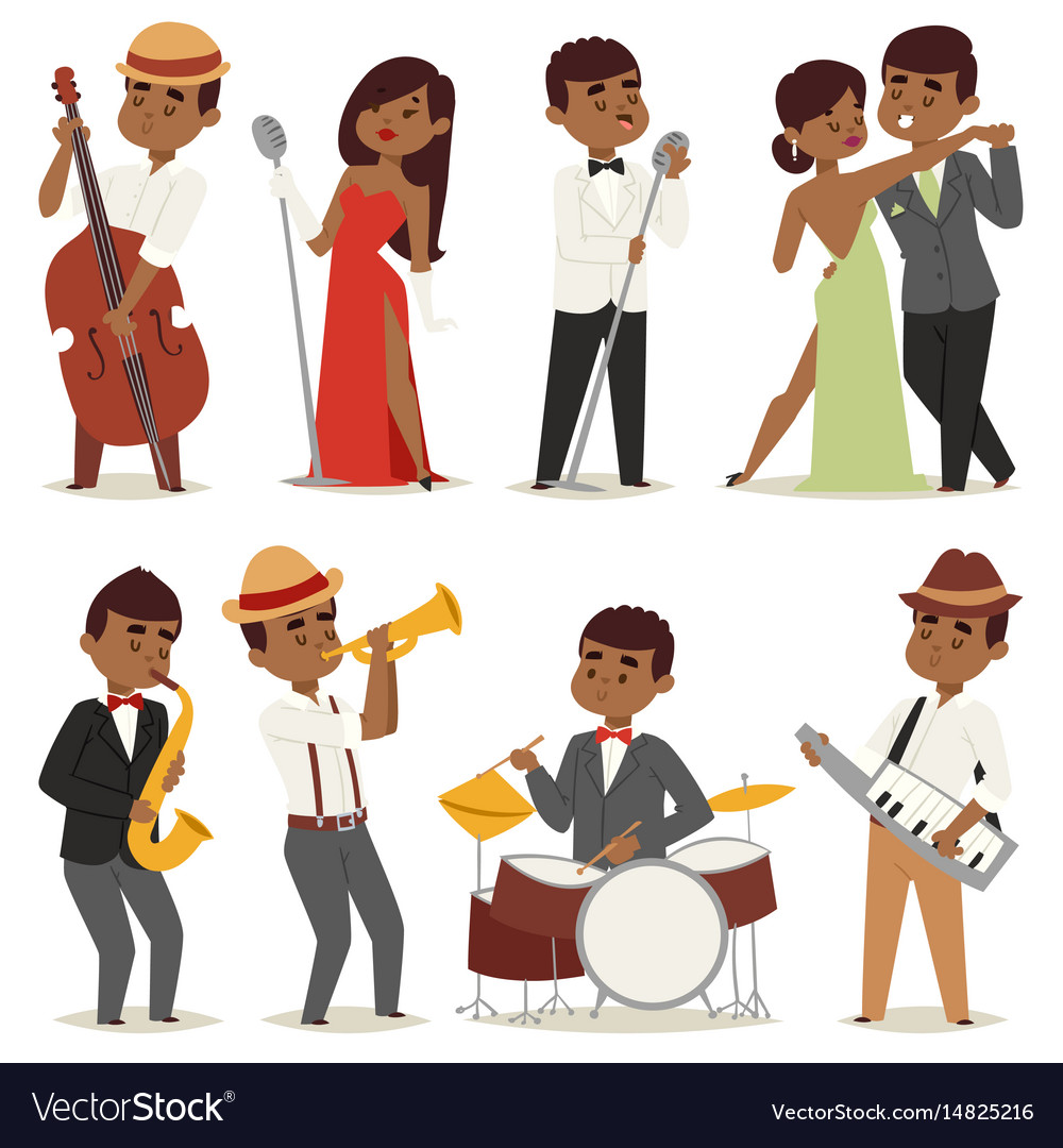 Jazz music band flat group cartoon musician people