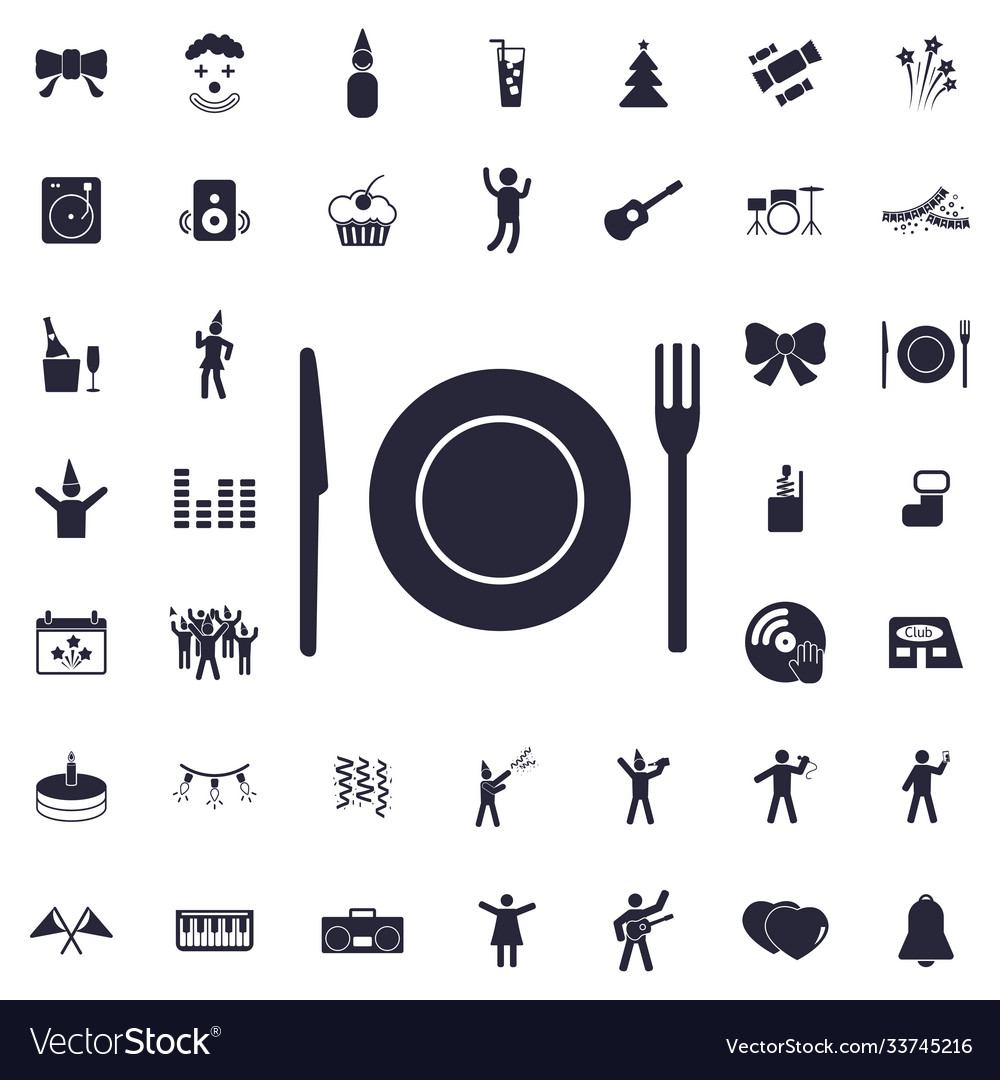 Plate fork and knife icon