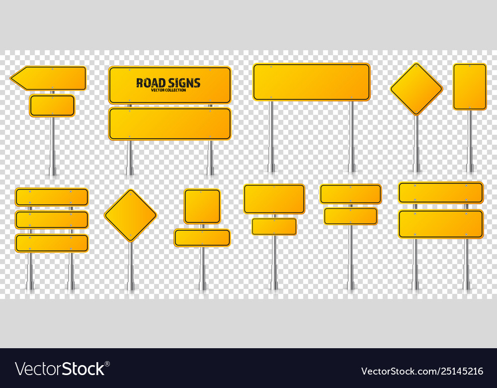 Road yellow traffic signs set blank board with