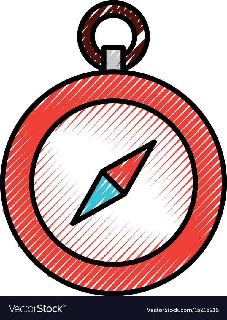 Scribble cute red compass vector image