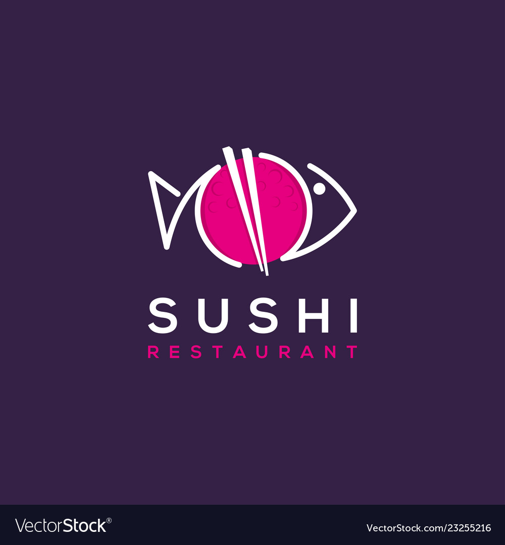 Sushi Restaurant Logo Illustration Royalty Free Vector Image