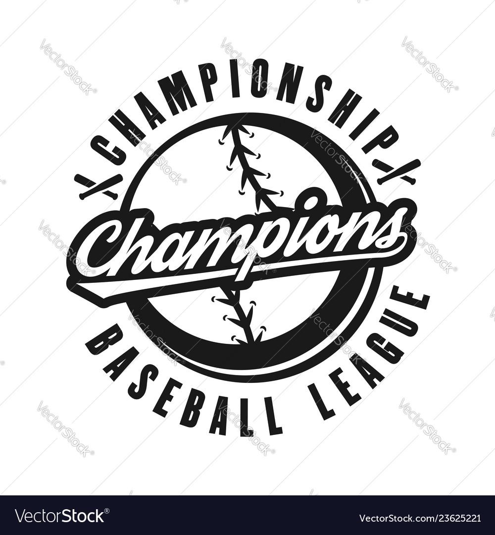 Baseball champions monochrome retro emblem