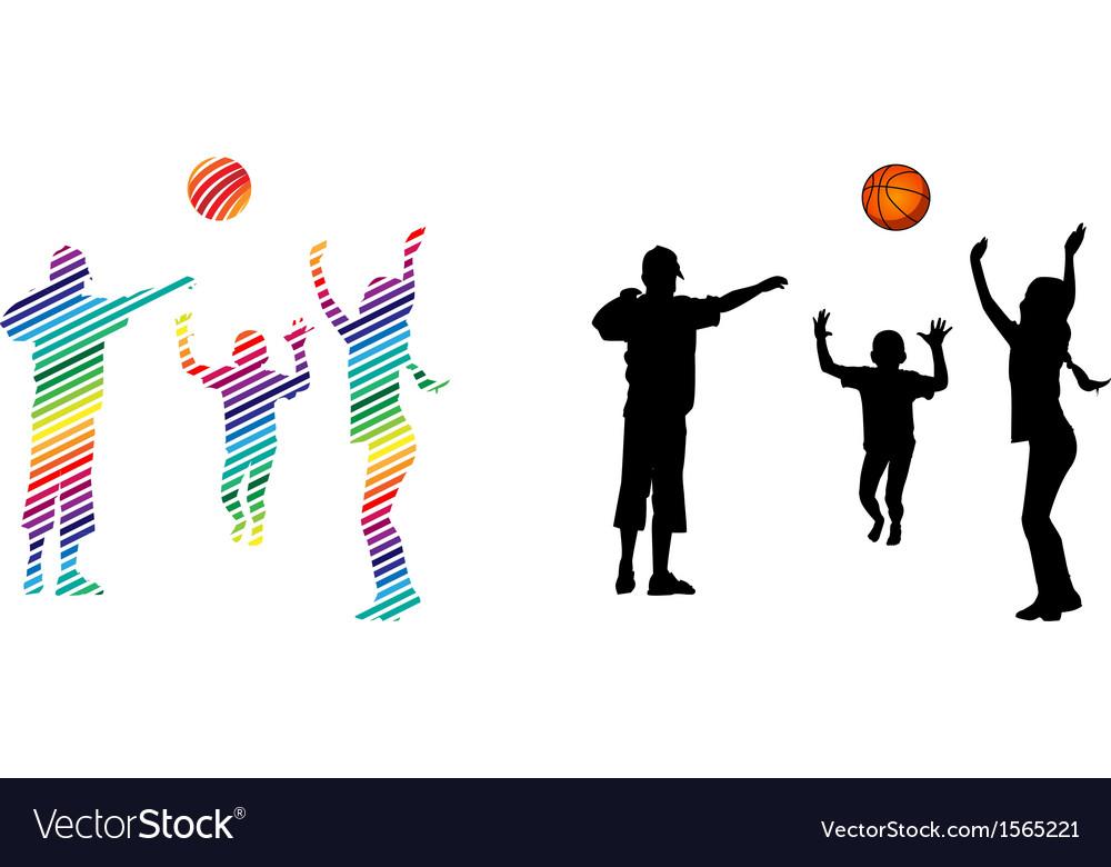 Children play volleyball