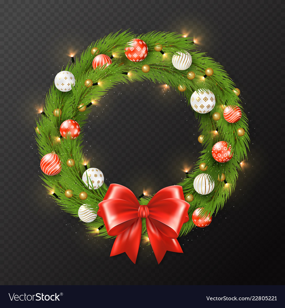 Christmas garland reath isolated on transparent