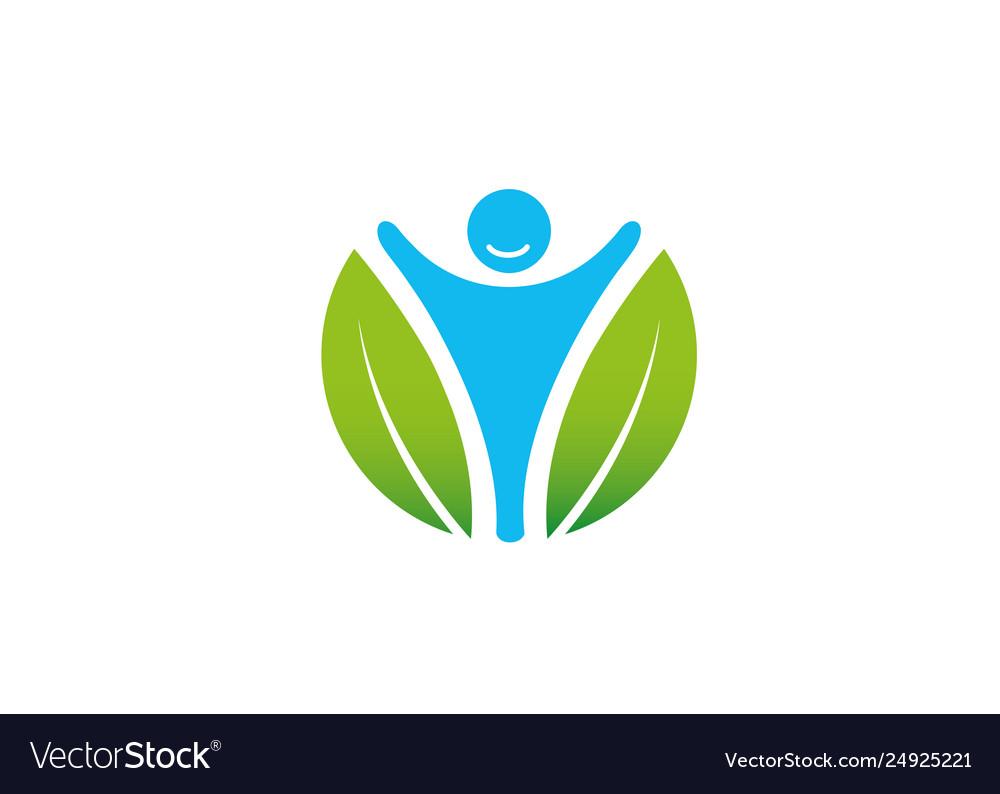 Creative leaf happy person body logo