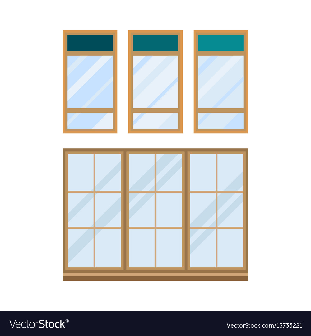 Different types house windows elements isolated