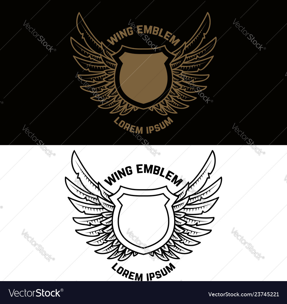 Emblem template with winged shield design element