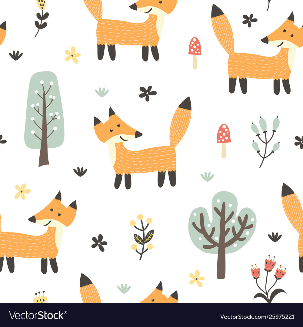 Funny fox seamless pattern forest background