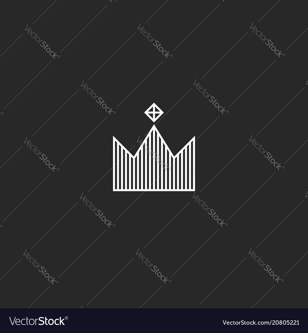 King crown logo monogram minimal style tiara with