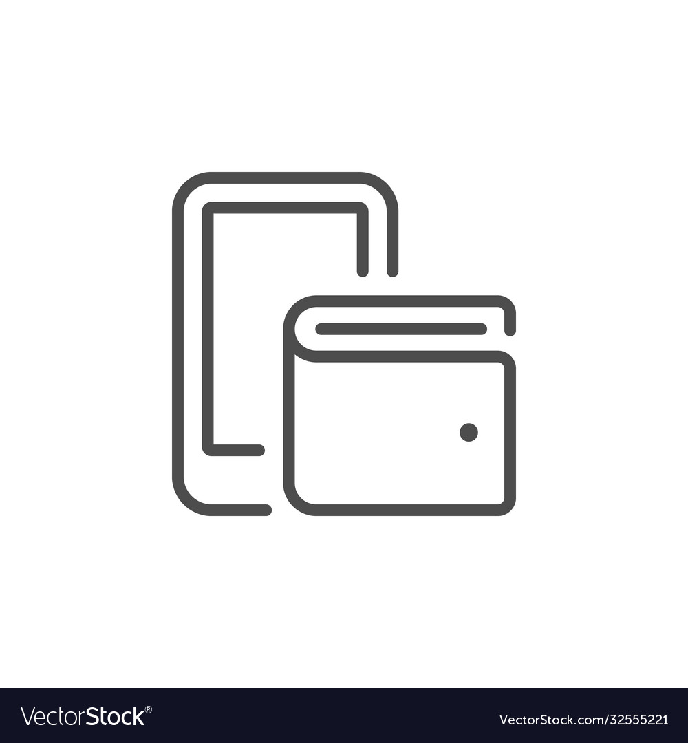 Mobile wallet line outline icon