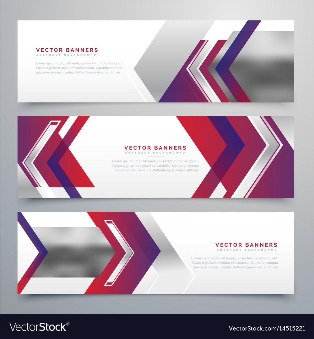 Modern business banners design set of three