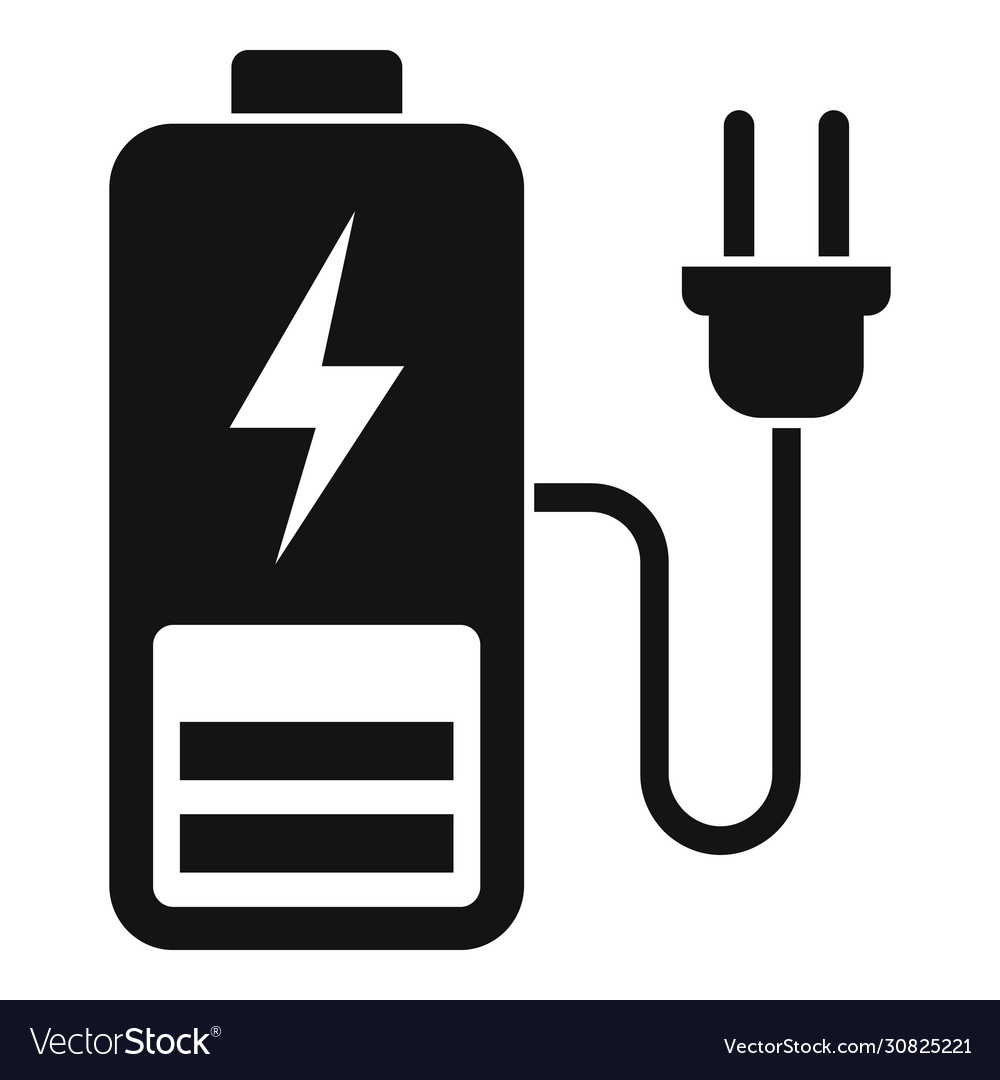 plug charging battery icon simple style royalty free vector vectorstock