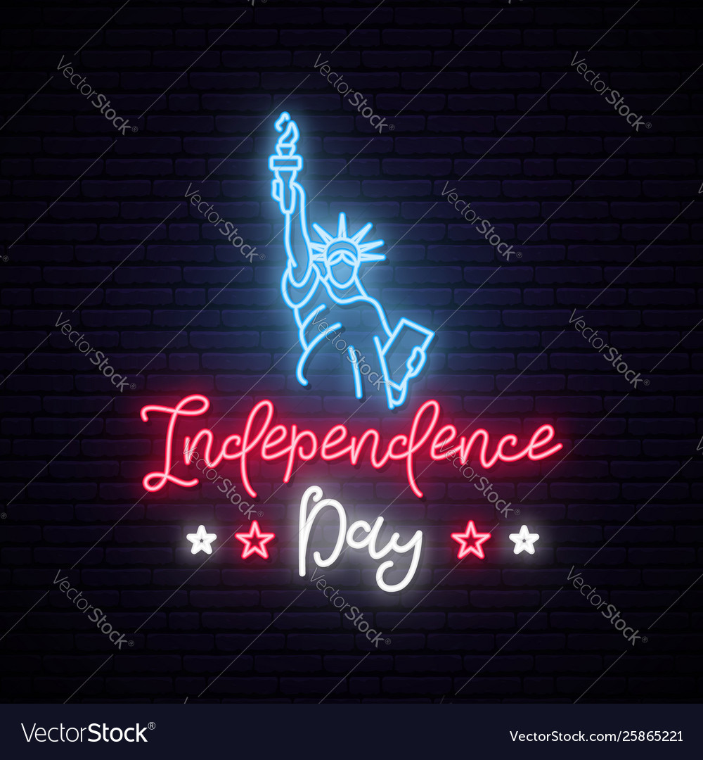 Statue liberty for 4th july neon sign