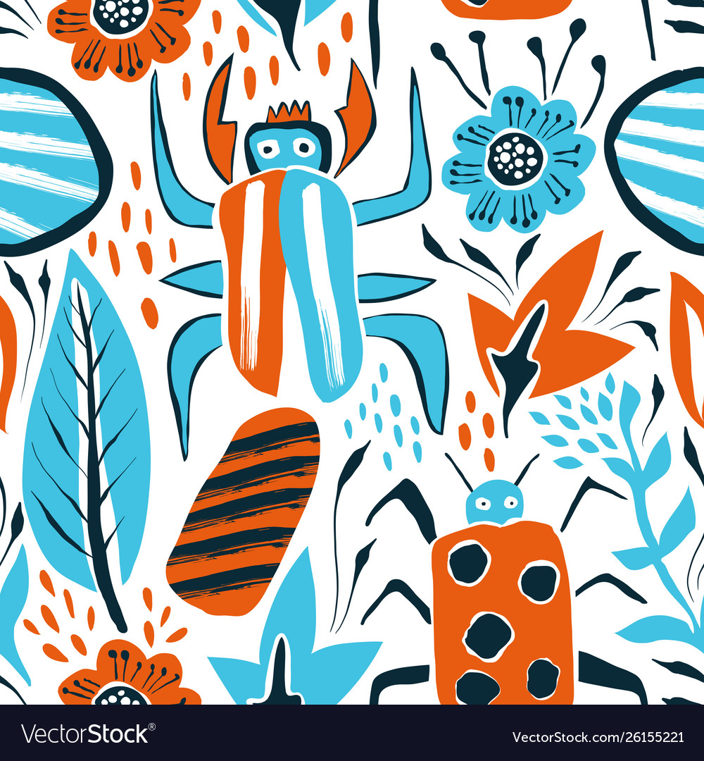 Summer seamless pattern with bugs and leaves