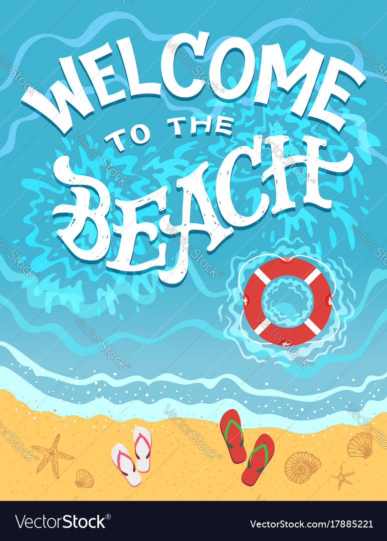Welcome to the beach hand drawn