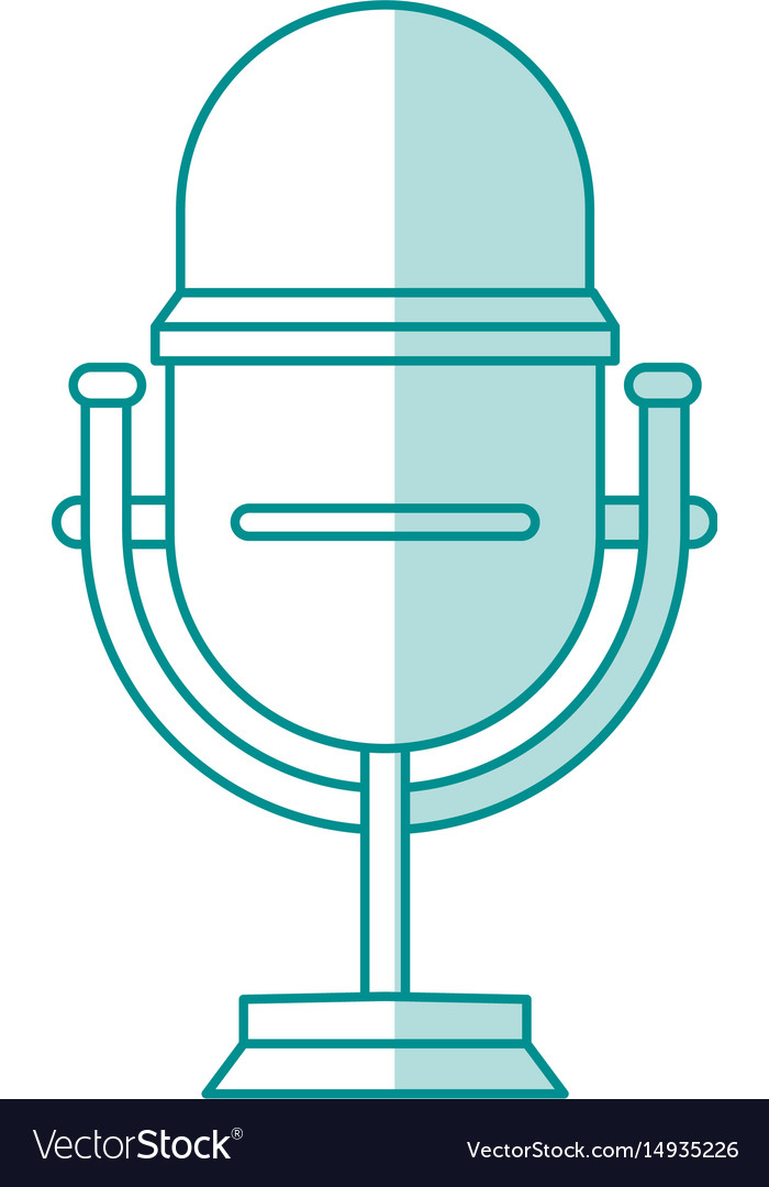Blue shading silhouette of studio microphone