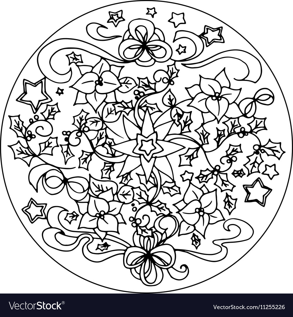 christmas coloring mandala vector image