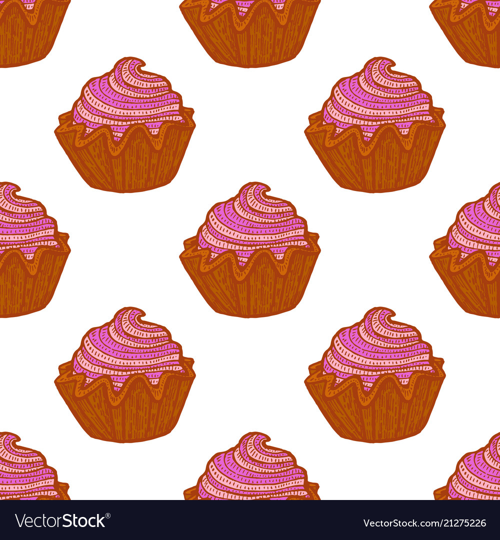 Colored seamless pattern with cupcakes in hand