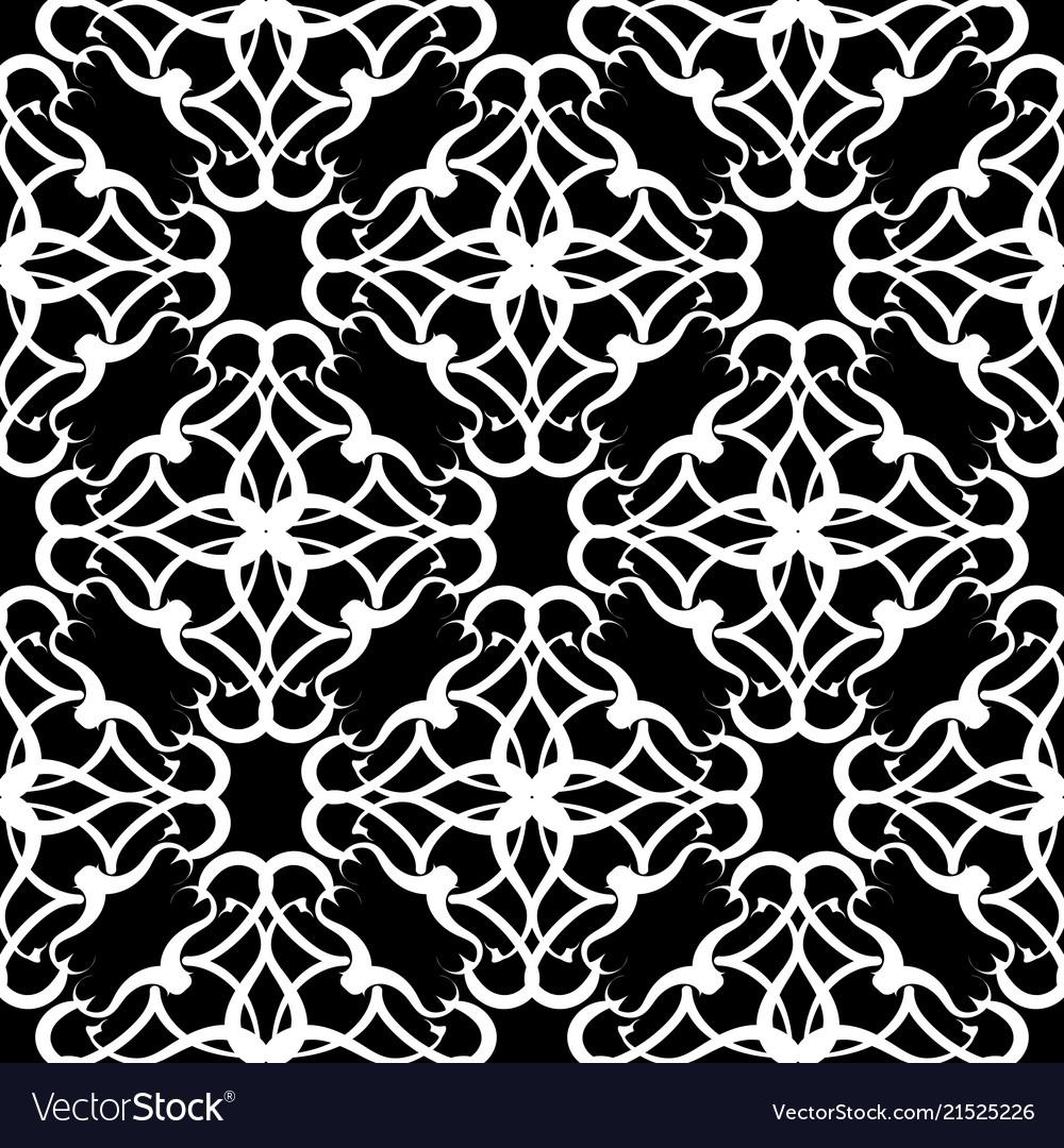Damask black and white seamless pattern