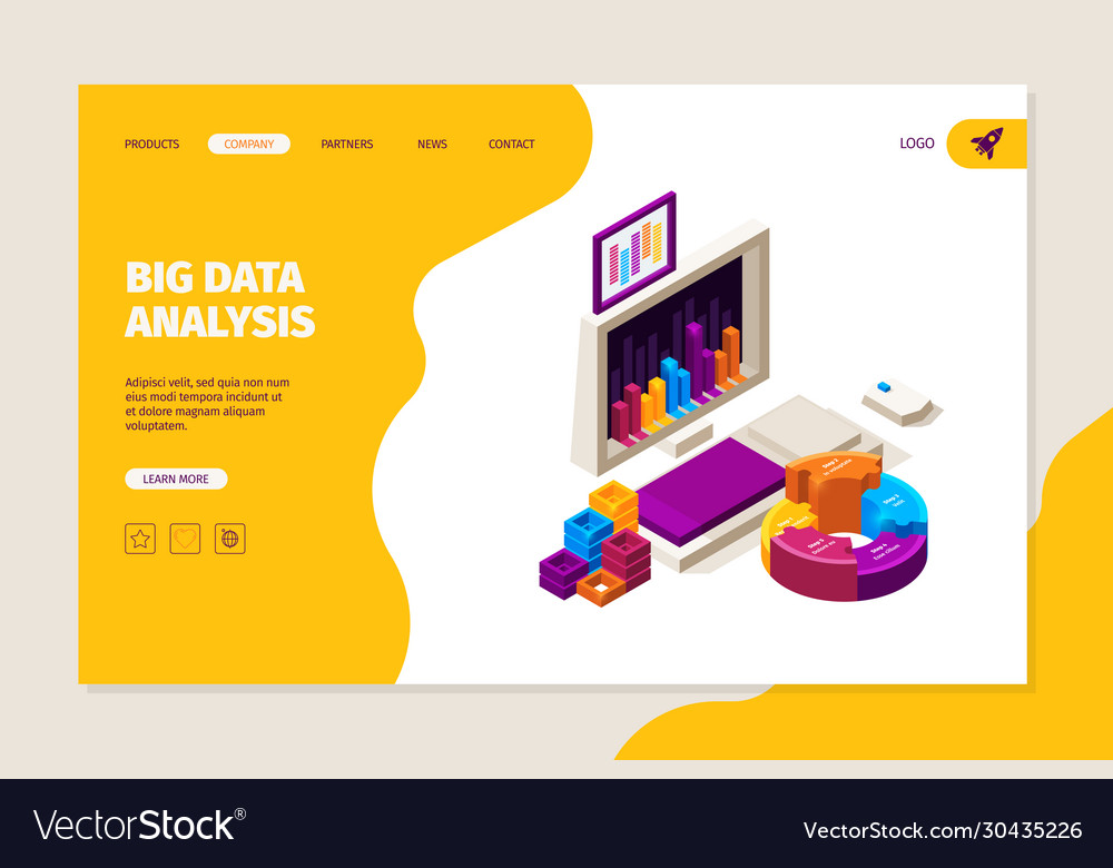 Data analysis landing business concept