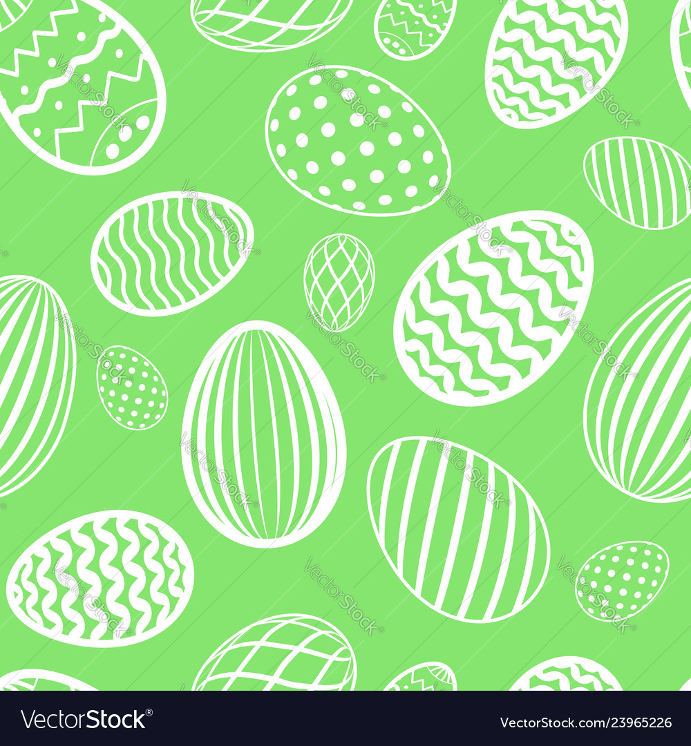 Easter egg seamless pattern green white color